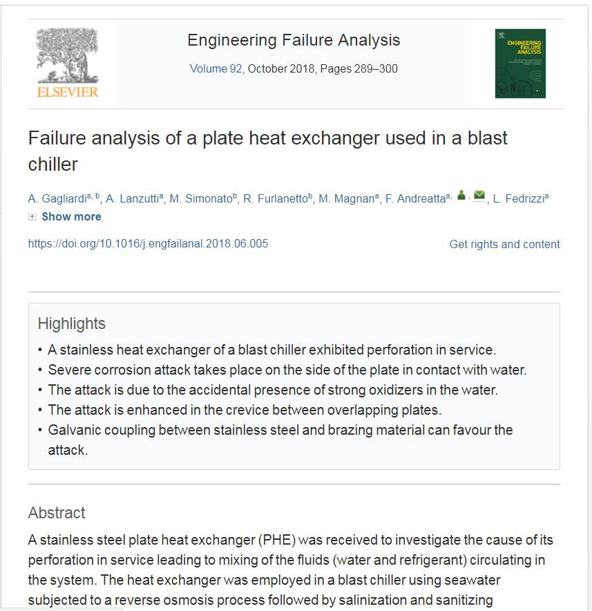 Failure analysis of a plate heat exchanger used in a blast chiller